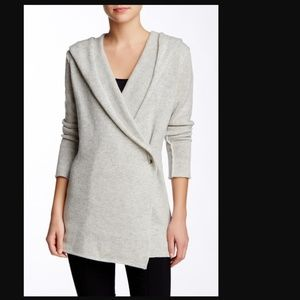 Vince Solid Sophie Wool Yak Gray Cardigan Sweater